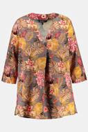 Picture of Bluza motiv lišća i cvijetova V ovratnik